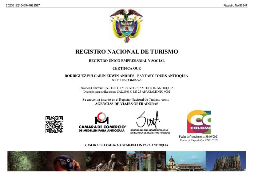 Registro Nacional de Turismo 2020