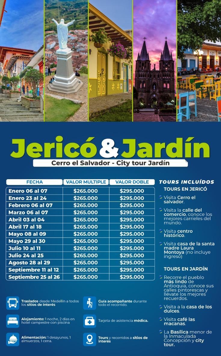 Tour a Jericó y Jardín en junio, julio, agosto y septiembre de 2021
