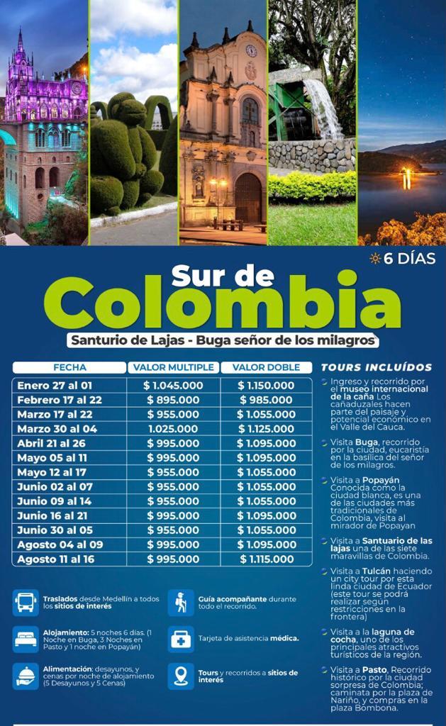 Tour al sur de Colombia, mayo, junio y agosto de 2021
