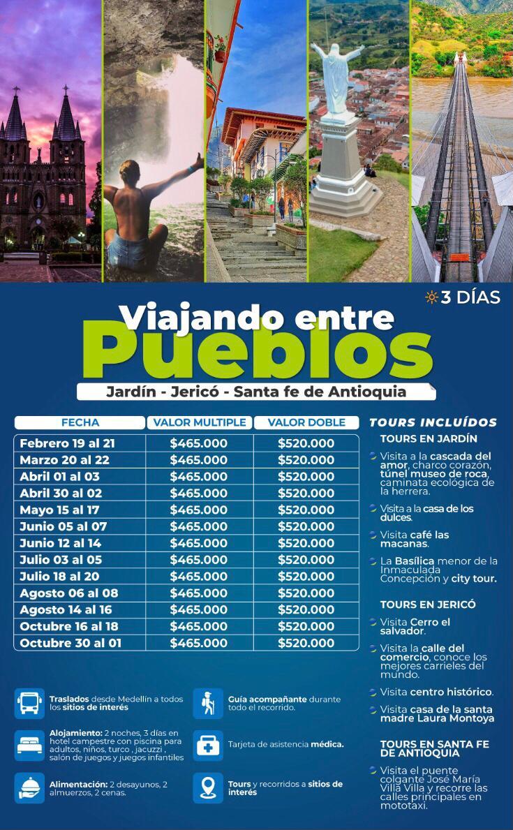 Tour por Santa Fe de Antioquia, Jardín y Jericó mayo, junio, agosto y octubre 2021